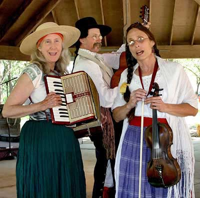 Los californios at the Pena Adobe in Vacaville, CA: Janet Martini, David Swarens, Vykki Mende Gray.